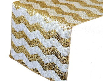 YCC Linen - 14 X 108 Inch Chevron Sequin Table Runner White And Gold