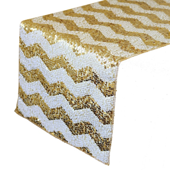14 x 108 inch chevron sequin table runners white and gold for 108 table runner