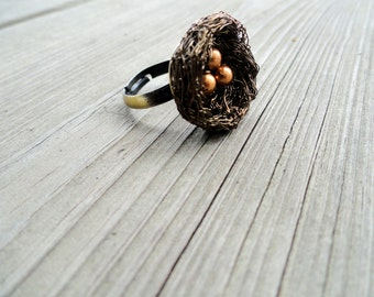 Ring , birds nest ring , wire wrapped ring , beaded ring , nature jewelry, pearl ring, Adjustable ring,nest ring,beaded ring