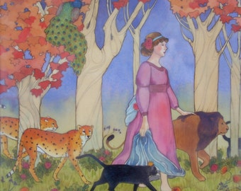 Josephine and All Her Cats- limited edition print of original mixed media painting