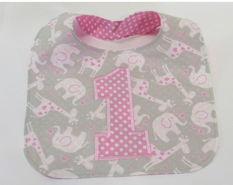 First Birthday Bib Cake Smash Photo Baby Girl Bib Pink Giraffes & Elephants Pink Polka Dot Personalized and Reversible
