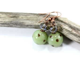 Green Lampwork Earrings, Green Earrings, Beaded Earrings, Green Glass Earrings, Lampwork Glass Beads, Green Drop Earrings, Silver Crystal