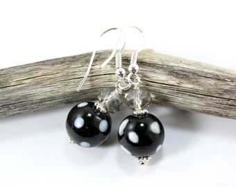 Lampwork Earrings, Beaded Earrings, Black Lampwork Earrings, Black Crystal Earrings, Black Drop Earrings, Black Beaded Earrings