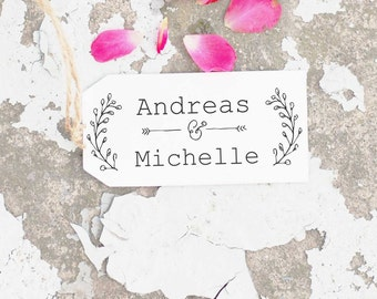Wedding Stamp, Wreath Stamp, Wedding Invitation Stamp, Monogram Stamp, Custom Wedding Stamp, RSVP Stamp, Initial  Self Inking Stamp 10118
