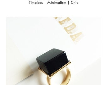 BLACK COLLECTION-Handmade Oversized Minimalist Semi Precious Stone ring/Avant garde style