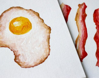 "breakfast. [original acrylic] bacon and eggs paintings. breakfast art. bacon art. set of [2] 8x10"" breakfast paintings."