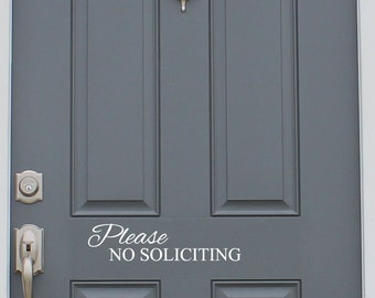 No Soliciting Vinyl Decal Sticker Front Door Custom Vinyl Lettering Custom Door Decal Front Door Decals Fancy Door Vinyl