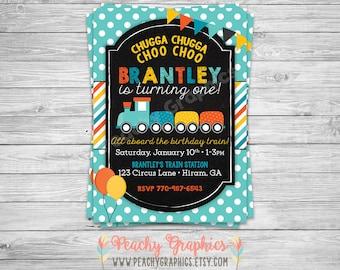 Printable Choo Choo Train Birthday Invitation - Train Invitation - Choo Choo Birthday Party - Chalkboard Choo Choo Train Party Invite