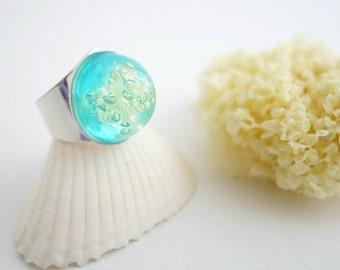 Sea Sponge Ring- Aqua ring- resin- ocean ring- seaweed jewelry