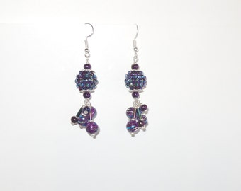 Beautiful purple dangling earrings