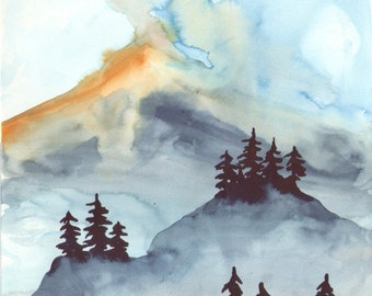 Sun on the Mountain - Original Watercolor Painting
