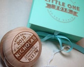 "Yoyo birth keepsake with presentation box - laser engraved  (2.25"" diameter)"