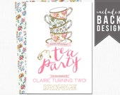birthday tea party invitation, shabby chic invitation, tea party invites, tea party invitation, first birthday, floral, custom, printable