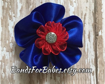 SALE Royal Blue and Red Satin Flower Hair Bow, Girls Patriotic Alligator Clip, Toddler Red & Blue Flower Hair Clip, Americana Barrette