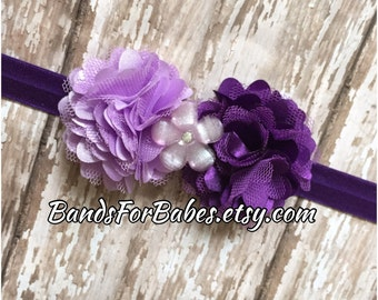 Purple and Lavender Satin and Tulle Flower Headband, Baby Headband, Toddler Headband, Girl Headband, Flower Girl Accessory, Hair Bow, Lilac
