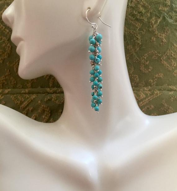 Arizona Turquoise Cluster Earrings  Sleeping Beauty Long Earrings Beach Sea Blue  Gift For Her  December Birthstone