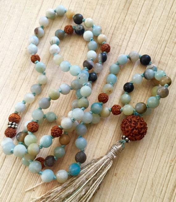 Amazonite Rudraksha Mala Beads Shiva's Tears , Courage , Self Discipline , Aligns Chakras