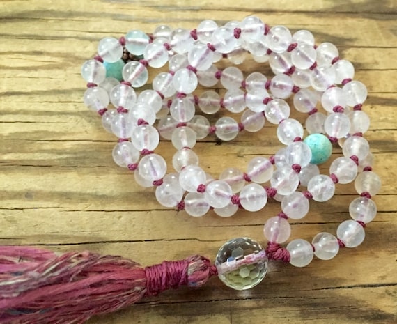 Rose quartz Mala Beads, Self Love, Amazonite Crystal Quartz  Heart Chakra Mala,