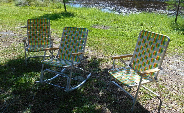 Set of 3 Matching Mid Century Aluminum Folding Lawn Chairs