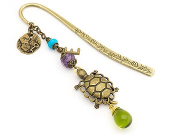 Personalized Bookmark Brass Turtle Bookmark Beaded Metal Bookmark Unique Bookmark Gemstone Bookmark Gift Turtle Gift Letter Charm Bookmark