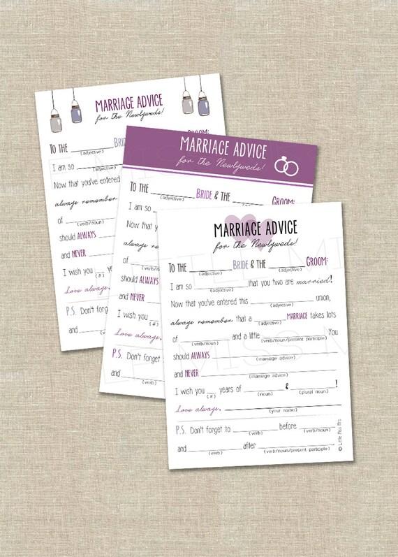 Printable Mad-lib Bridal Shower games // PURPLE