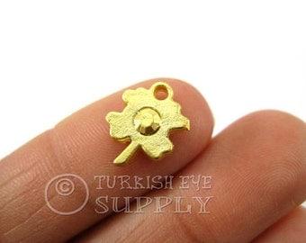 20 pc Mini Leaf Charms, Matte 22K Gold Plated Turkish Jewelry