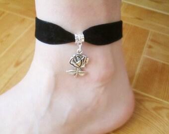 Rose velvet anklet, rose ankle bracelet