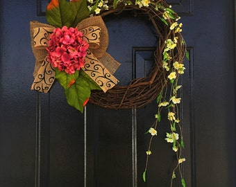 Pink Summer wreath with cascading floral, hydrangea wreaths, summer decor, wreath for summer, spring door wreaths