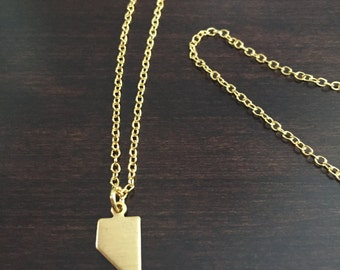Nevada Necklace, Nevada, gold Nevada necklace, Nevada jewelry, Nevada pendant, state necklace, state jewelry, necklace, gold necklace