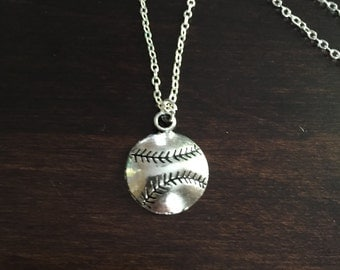 baseball necklace, baseball, silver baseball necklace, baseball pendant, baseball jewelry, baseball necklaces, silver necklace, necklace
