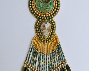 Bead Embroidery Necklace, Beadwork Necklace, Jewelry,Long Green Gold Necklace, Statement Necklace, Gift for Her OOAK