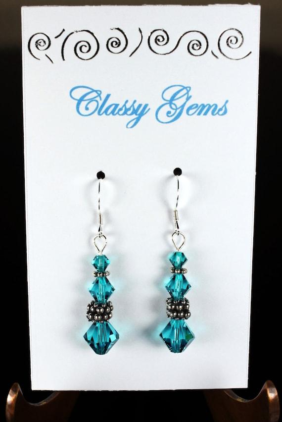 Blue Zircon Swarovski Crystal Earrings