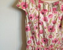 Liberty of London Dress Designer Original / Lovely Pink Floral Poppies w Sequin Touches  / Summer Wedding Frock
