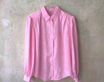 Shiny Powder Pink Roses 80s Blouse Size M E D I U M