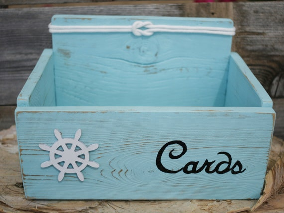 Nautical Wedding Gift Card Holder : Card Wedding Box Holder Distressed Beach Nautical Rustic Ship Captains ...