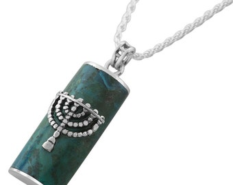 Sterling Silver Blue Green Eilat Stone Menorah Necklace