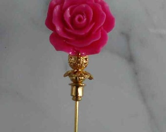 Lapel Pin for Mother Day 3 inch corsage pin with pink flower with gold findings and stick