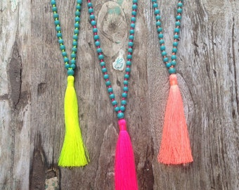 Beaded Tassel Necklace - Howlite Necklace - Mala Beads 108 - Turquoise Stone Mala Necklace - Howlite Beads -  Turquoise Howlite Stone Tassel