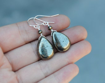 Pyrite Earrings, Pyrite Drop Earrings, Pyrite Jewelry