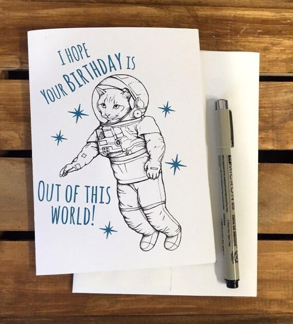 Funny Birthday Card Boyfriend Girlfriend Card By: Space Cat Birthday Card. Funny Birthday Card. Boyfriend