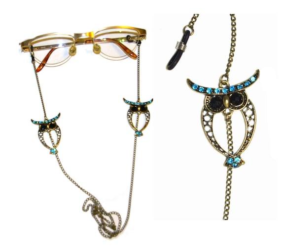 Blue Owl Eyeglasses Chain Holder NecklaceOwl Sunglasses