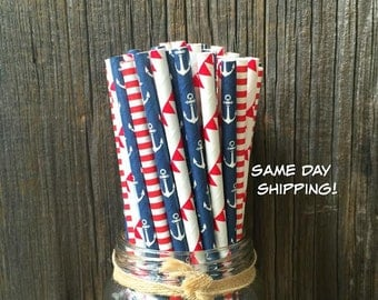 75 Red, White and Blue Banner, Anchor and Stripe Paper Straws- Patriotic or Nautical Party Supply, Free Shipping!