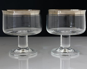 Set of 5 whiskey glasses with silver rim scotch glasses whisky - Wine glasses with thick stems ...