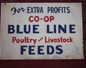 Blue Line CO-OP Poultry and Livestock Feed Large Metal Sign