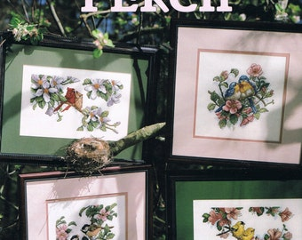 CROSS STITCH PATTERN - Bird Cross Stitch - Birds In Blossoming Trees - Song Bird Cross Stitch - Favorite Perch - Leisure Arts #3038
