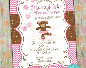 Twirl Ballerina Bear Personalized Party Invitation (Digital/Printable)