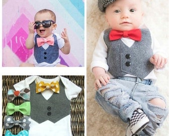 Baby Boy Clothes - Baby Boy Wedding Outfit - Bow Ties for Boys - Boy Baptism Gift - Take Home Outfit - Bow Tie and Suspenders - Ring Bearer