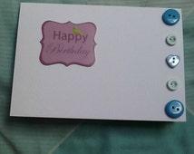 Birthday Card, Happy Birthday, Birthday Wishes, Button Card, Blue Button Card, Button Love, Buttons and Birds, Blue and Purple Card