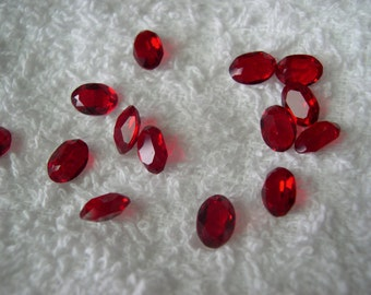 10 vintage Swarovski crystals, siam, oval cut, 7x5mm, art 4120