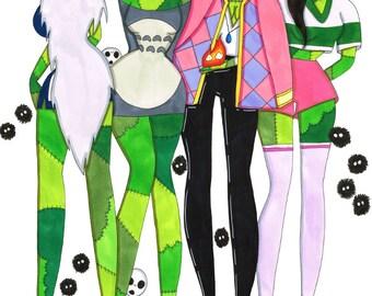Zombie Print Ghibli Cuteness, Anime, Studio Ghibli Inspired, Zombie Art
